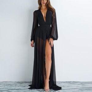 Other - Stunning Long Black Chiffon Beach Robe Cover Up